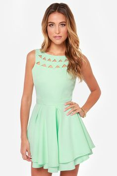 Flirting with Danger Cutout Mint Dress. College grad dress option 2...can't decide if I would want it in mint, ivory, or navy...