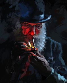 Man with pipe, gidital work