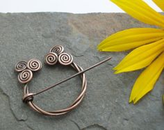 Penannular Brooch - Celtic Spirals - Twisted Copper