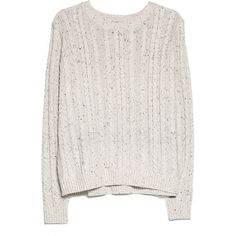 Cable-Knit Sweater ($19) ❤ liked on Polyvore featuring tops, sweaters, jumpers, cable knit sweater, cable jumper, white long sleeve top, white cable sweater and long sleeve sweaters