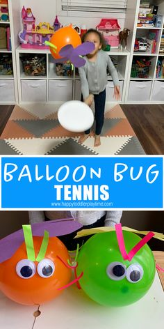 Balloon Bug Tennis Balloon bug tennis is a fun twist for spring on the classic balloon tennis game. It is also one of the greatest way to get your kids active while indoors. Bug Activities, Gross Motor Activities, Spring Activities, Indoor Activities, Learning Activities, Preschool Activities, Creative Activities, Rain Stick Crafts, Bee Crafts For Kids