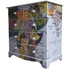 Map wallpaper on an old dresser.