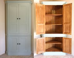 Freestanding corner pantry for extra storage in the hallway