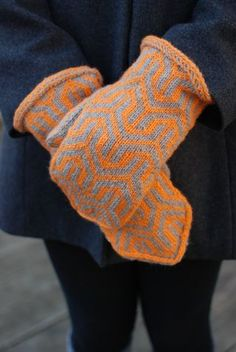 The Mod mittens start with a Latvian braid and feature a bold geometric pattern reminiscent of the mod textile patterns of the 1960's.