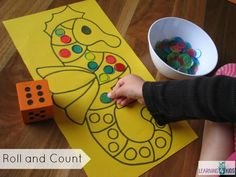 roll and count maths activity for kids