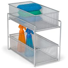 Our 2-Drawer Mesh Organizer is perfect for keeping cleaning supplies tidy, food packets and boxes organized, and toiletries in order.  The tight-weave silver mesh provides visibility of the contents while preventing small items from falling through.  Great for use in upper or lower cabinets in the kitchen and bath, on a countertop and in the pantry. Each basket slides out completely so you can take it where you need it.
