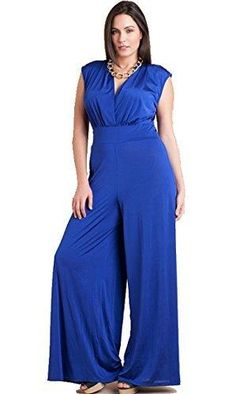Plus size wide leg, sleeveless cool knit jumpsuit. - Made in USA - Made of wrinkle free silky polyester knit - Sleeveless V-neck 1 piece jumpsuit - Surplice crossover top - Flattering wide leg - Sizes: Missy - Plus Size Casual, Overall, Jumpsuits For Women, Plus Size Dresses, Plus Size Fashion, Dress Skirt, Wide Leg, Rompers, Crossover