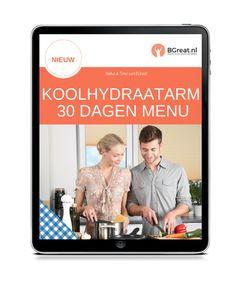 Koolhydraatarm 30 Dagen Menu Low Carb, Gluten, Menu, Menu Board Design