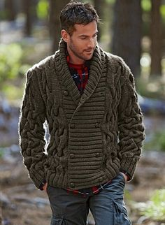 Made to Order Men cable hand knit cardigan Rugged Style, Man Style, Mode Masculine, Sharp Dressed Man, Well Dressed Men, Style Brut, Herren Outfit, Hand Knitted Sweaters, Knitted Cat