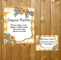 Diaper Raffle Floral, Diaper Raffle Ticket Peach & Gold Baby Shower Diapers Watercolor Floral Diaper Raffle, SFB03O Instant Download