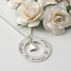 Eternity Circle Mommy necklace with heart by divinestampings