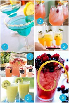 6 Spring Cocktail Recipes — ♦1 Tropical Blue Margarita ♦2 Pink Lemonade Cocktail ♦3 Passion Fruit Mojitos ♦4 Raspberry Beer Cocktails (hmmm...) ♦5 Kiwi Colada ♦6 Blackberry Julep