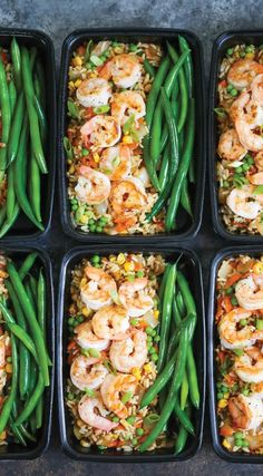 Shrimp Fried Rice Meal Prep - No need to order takeout anymore! Your favorite fr. Shrimp Fried Rice Meal Prep - No need to order takeout anymore! Your favorite fried rice dish is packed right into meal prep boxes for the entire week! prep for the week Lunch Meal Prep, Meal Prep Bowls, Meal Prep Dinner Ideas, Meal Prep Salads, Lunch Box Meals, Week Lunch Prep, No Carb Lunch, Veggie Meal Prep, Meal Box