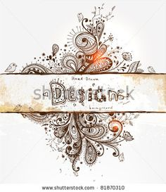 stock vector : Hand Drawn floral background with detailed frame