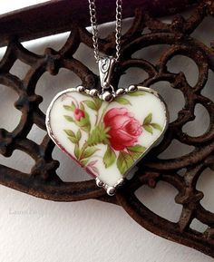 Broken china jewelry heart pendant necklace antique Haviland moss rose porcelain fine china
