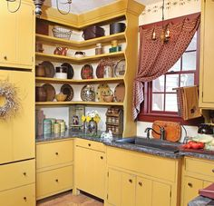Kitchen Storage in the Early Home - Old House Restoration, Products & Decorating Glass Shelves Kitchen, Kitchen Cupboards, Kitchen Storage, Cabinets, Kitchen Canisters, Kitchen Organization, Shelves Under Tv, Open Pantry, Rustic Vintage Decor