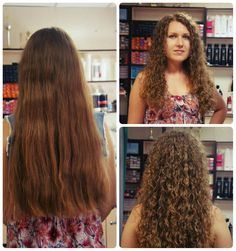 spiral perm in very long hair--before and after