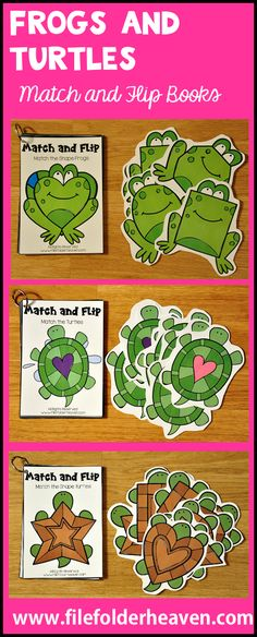 These Matching Activities: Frogs and Turtles Match and Flip Books focus on basic matching skills. In these activities students work on matching picture to picture (exact match), matching shape to shape, matching by color and matching by number. There are four Match and Flip Books included in this download.