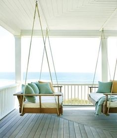 Simple Coastal Porch With Swings