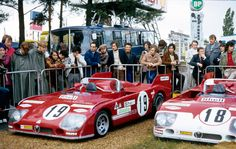 1972 LE MANS - Alfa Romeo Tipo 33TT3. Entrant: Autodelta SpA. Car 19: Drivers: Rolf Stommelen / Giovanni Galli. Placed: DNF. Car 18: Drivers: Nini Vacarella / Andrea de Adamich. Placed: 4th o/a.