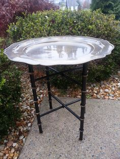 Tray Table Round Scalloped Bronze Color Metal Tray On Black Ebonized Faux  Bamboo X Form Stand