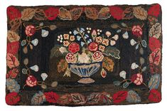 """Chenille-Shirred Table Rug, Origin:America, Era:19th Century, Height:4' 6"""" inches Width:2' 11"""" inches"""