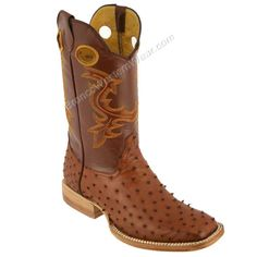 Ostrich Skin Square Toe Cowboy Boots.