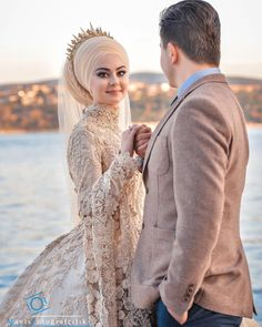 Fancy Hijab Accessories Fashion for Formal Function – Girls Hijab Style & Hijab Fashion Ideas Muslim Wedding Gown, Hijabi Wedding, Muslimah Wedding Dress, Muslim Wedding Dresses, Muslim Brides, Wedding Couple Photos, Wedding Couple Poses Photography, Wedding Poses, Wedding Photoshoot