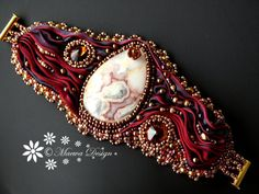 Bead embroidered cuff Crazy Lace Agate bracelet Hot by MaewaDesign