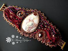 pulsera bordada Loco Ágata Hot Lava Shibori semilla Abalorios cinta de seda joyería moldeada EBW Equipo