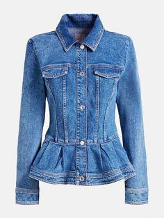 DENIM JACKET WITH FLOUNCE AT BOTTOM | GUESS.eu Slim, Long Sleeve, Cotton, Jackets, Fashion, Self, Down Jackets, Moda, Long Dress Patterns