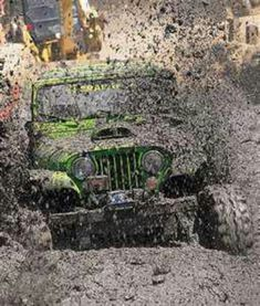 Mud jeep wrangler (No, it's a CJ) limegreen (under the mud somewhere). I bought my CJ5 for cruising the beaches and bars in and around Daytona, FL ... each to his/her own, I suppose! :-)