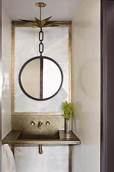 suspended mirror on mirror powder room #drdbathrooms
