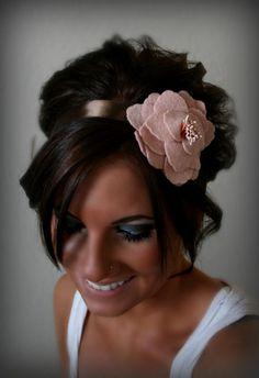 Felt Flower Ribbon Headband by BrassLotus on Etsy, $26.95