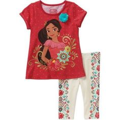 Elena of Avalor Baby Toddler Girl T-Shirt and Legging Outfit Set, Size: 3 Years, Red
