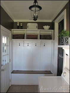 "Love this in a mud room! Great for bad weather or coming home from the barn. Maybe include a ""hidden"" curtain type thing and spare clothes for the days I absolutely cannot go in the house with dirty barn clothes on. And use the bench as hidden storage for summer/outdoor party supplies that don't get used otherwise. Take up less space inside the house!"