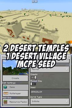 2 Desert Temples, 1 Desert Village. MCPE Seed: ZEROZILCH