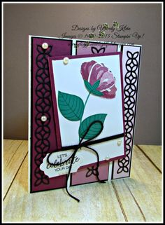 Stampin' Up! MOJO459, Bunch of Blossoms, Blossom Builder Punch, Flourish Thinlits, Lots of Labels framelits, Basic Black Solid Baker's Twine, Pearls,  designed by Wendy Klein for Doggone Delightful Stampin'
