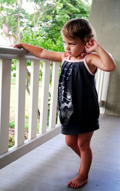 pleated t-shirt dress for child from adult tee - I think I am going to do this with the comic book t-shirt I found!