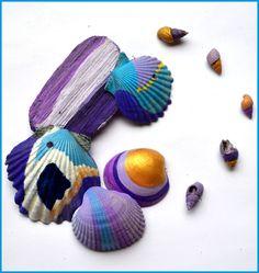 Beach Decor, Coastal Decor, Shabby Chic Decorations, 8 Painted Beach Shells in Gold, Blue, Violet-White, Seashells, Beach Wedding, Beach Art