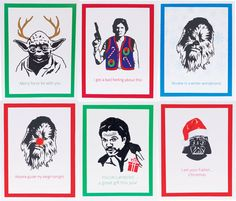 set of 6 funny illustrated star wars christmas by designcorne star wars christmas cards christmas - Star Wars Christmas Card