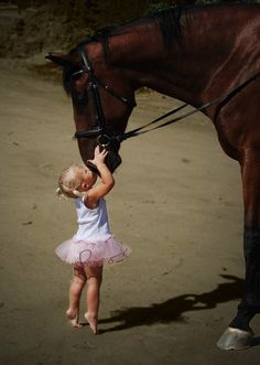 Little Girl ever so Gently kissing her Beautiful Horse <3