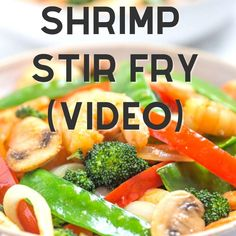 Shrimp Stir Fry recipe, made with healthy fresh ingredients and tasty stir fry sauce. Clean eating, gluten free recipe.
