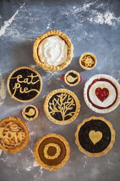 The most creative pie toppers ever: http://www.stylemepretty.com/living/2014/11/21/18-creative-pie-toppers/