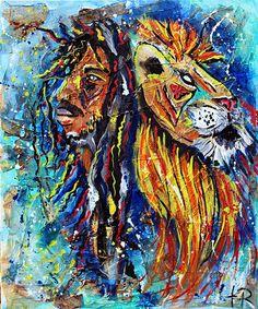 Mixed media textured art, rasta, Jamaican, one love, iron lion zion, wall art, reggae, hippie, peace, gifts, original art, music, lion painting, abstract, torn, bold, street art, graffiti