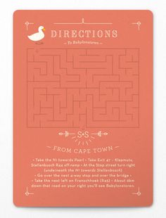 """Funny - This would be cool as a """"fun"""" directions card considering how close your venues are to each other. On the back would be the real directions of course ;) Plus if there are kids invited it could be a handful game"""