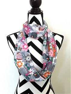 Fox scarf Owl scarf Scarf for Girls Bird scarf by SewBirdiful