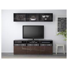 BESTÅ TV storage combination/glass doors Black-brown/selsviken high-gloss/brown clear glass 180x40x192 cm  - IKEA