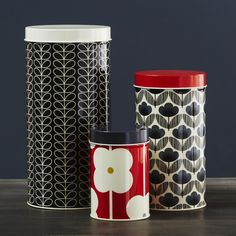 Orla Kiely Set of 3 Blue & Red Canisters