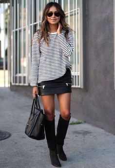 Falda negra camiseta rayas